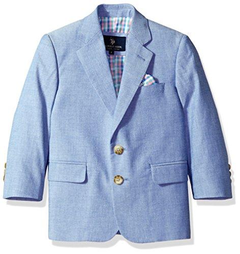 U.S. Polo Assn. Boys' Little Cotton Sport Coat, Blue Chambray, 5 - Chambray Coat