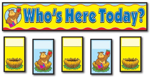 Carson Dellosa Attendance Replacement Cards Pocket Chart Cards (158006) (Whos Here Today Chart)
