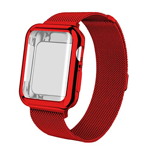 Wolait Compatible with Apple Watch Band 38mm 40mm 42mm 44mm, Stainless Steel Mesh Sport Loop with Apple Watch Screen Protector Case for iWatch Series 4 3 2 1- Red, 40mm