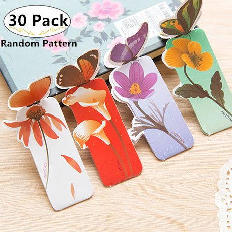 30 Pack Cute Butterfly Bookmarks, Magnolora Book Marker Page Marker Book Note Pad Memo Marker Label Student Office Stationery Bookmarks Labels for Students Children