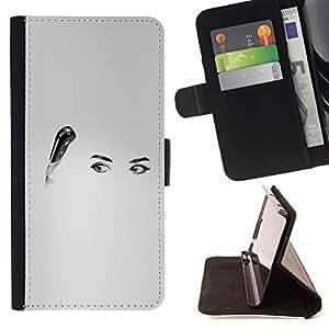 BullDog Case - FOR/Samsung ALPHA G850 / - / eyes knife art black white kitchen woman /- Monedero de cuero de la PU Llevar cubierta de la caja con el ID Credit Card Slots Flip funda de cuer