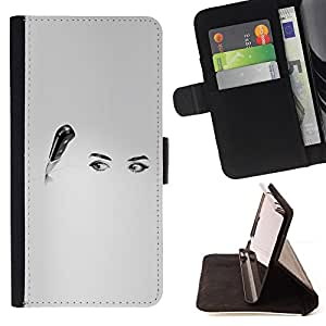 - WHITE KITCHEN EYES WOMAN BLACK ART KNIFE - - Prima caja de la PU billetera de cuero con ranuras para tarjetas, efectivo desmontable correa para l Funny HouseFOR Apple Iphone 5 / 5S