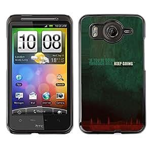 Caucho caso de Shell duro de la cubierta de accesorios de protección BY RAYDREAMMM - HTC G10 - Going Though Hell Keep Going Quote Inspiration