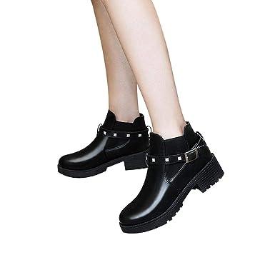 ❤ Vintage Botas de Mujer, Retro Belt Hebilla Rivet Boots Mujer Botas de Moto con Botines de Invierno Absolute: Amazon.es: Ropa y accesorios