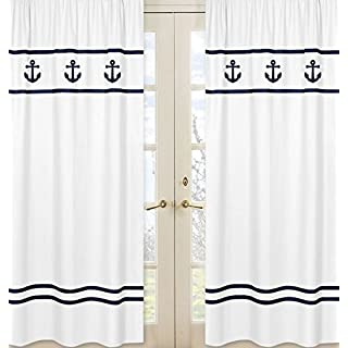 Sweet Jojo Designs 2 Piece Window Treatment Panels For Anchors Away  Nautical Navy And White