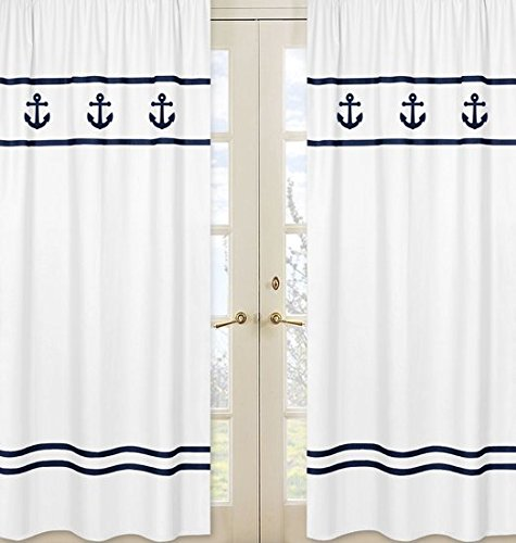 - Sweet Jojo Designs 2-Piece Window Treatment Panels for Anchors Away Nautical Navy and White Collection