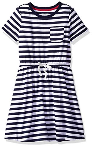 Amazon Essentials Toddler Girls' Short-Sleeve Elastic Waist T-Shirt Dress, Evening Stripe Navy with White Bow, 2T
