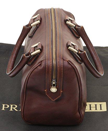 main de sac double à sac luxe de bandoulière cuir dames marque Primo italiennes Foncé stockage Inclut de Sacchi® en Marron le poignée Grab épaule q6OU7