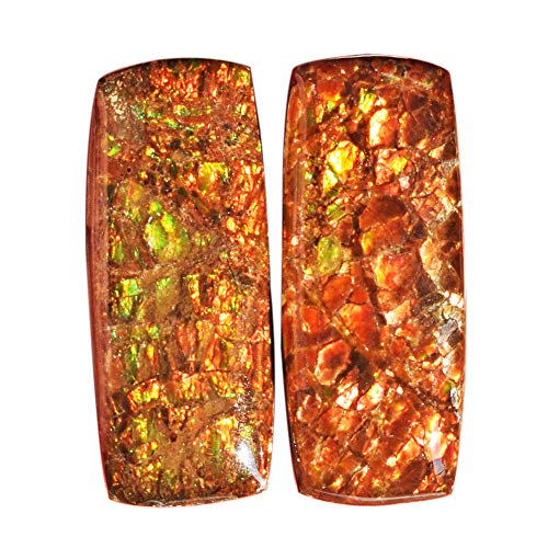 (ABC Jewelry Mart Natural Red Green Flashy Ammolite Pair Cabochon, Size 25x10x5 MM, Earring Pair Stone, Ammonites, AG-12140)