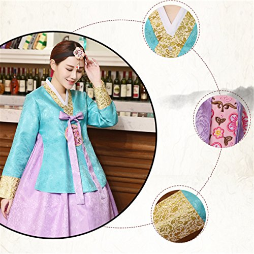 Korean XINFU Long Sleeve Set greenpink Classic Women's Embroidery Hanbok Costume Traditional rpw5px