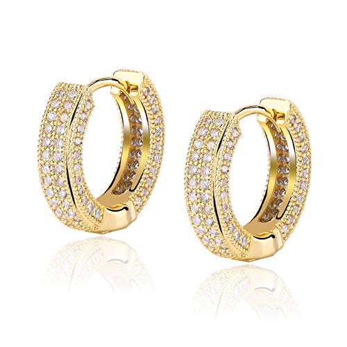 TOPGRILLZ 14K Gold Plated Iced Out Hypoallergenic Cubic Zirconia Huggie Cartilage Cuff Hoop Earrings