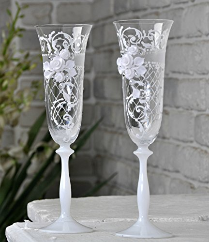 Wedding Champagne |Toasting Flutes for party | Church wedding |Birthday table decorations |bridal table decorations |Glasses for His and Hers |Wedding décor idea (white, ornament with a mesh) set of 2 ()