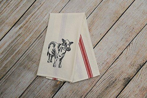 Vintage tea towel, Farmhouse dish towel, Cow lover gift
