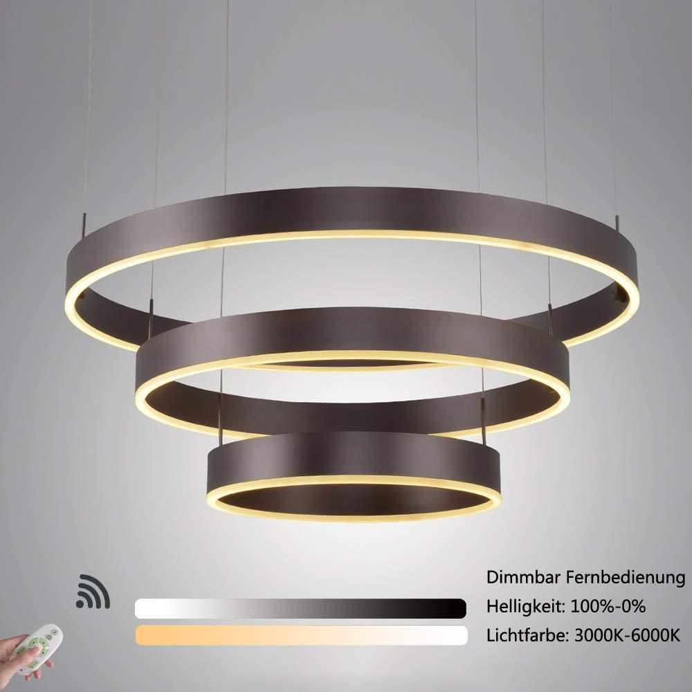 Pendelleuchte LED Dimmbar Hängeleuchte mit Fernbedienung Wohnzimmer Esstisch Lüster Rund 3 Ringe Design Beleuchtung Esszimmer Schlafzimmer Lampe Aluminium Acryl Lampenschirm D80cm 90W 3000-6000K