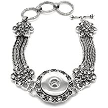 stoyuan Snap Flower Bracelet 18mm Snap Button Antique Silver Plated Bangle Ginger Snap Jewelry