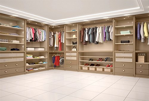 LFEEY 7x5ft 3D Modern Wooden Wardrobe Backdrop Luxury Empty Home House Dressing Room Clothes Rack Closet Cabinet Interior Cloth Photography Background Vinyl Girls Lady Women Photo Studio Props