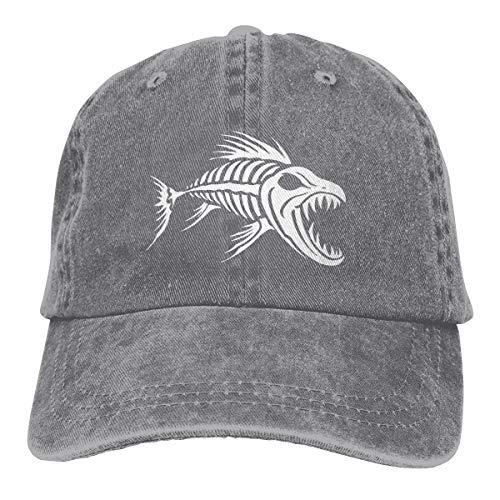 DAY DAY UP Skeleton Fish Bones Denim Hat Adjustable Dad Hat Baseball Cap