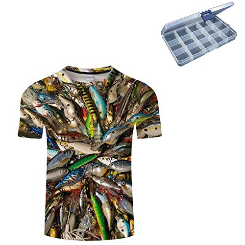 Shareef E-Com Casual Fishing T-Shirt with Free 15pc Small Tackle Organizer (Lures, Tag XX-Large/US Size Large)