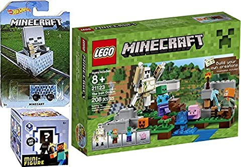 Lego Minecraft + MineCart Hot Wheels with Minecraft Collectible Figure Mystery Blind Box series 5 Ice Minecraft Car HW Ride-Ons - Minecraft The Iron Golem 21123 (Mini Mine Craft Characters)