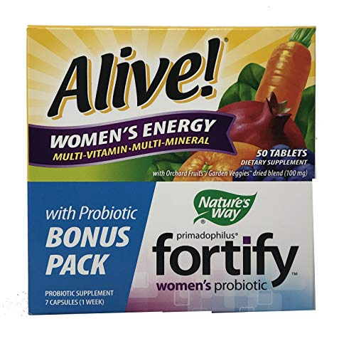 - Nature's Way Alive! Women's Energy Multivitamin Tablets, Fruit and Veggie Blend (100mg per Serving), 50 Tablets   Plus Bonus Fortify Probiotic Value Pack