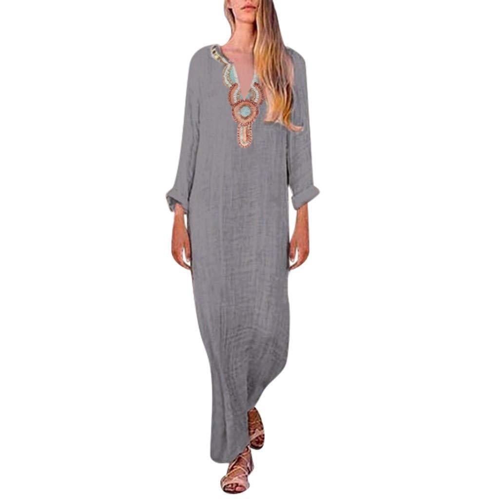 Mysky Fashion Women Summer Popular Casual National Style Print Long Sleeve Irregular Hem Loose Maxi Dress Dark Gray