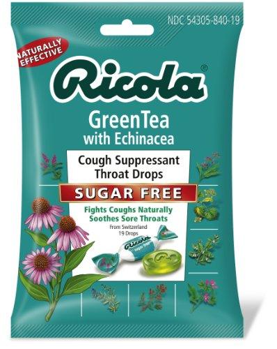 Ricola bonbons contre la toux gorge abat, le thé vert avec l'échinacée, sans sucre, 19 gouttes (Pack de 12)