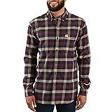 Carhartt Men's Rugged Flex Hamilton Plaid Flannel Shirt (Regular and Big & Tall Sizes), Dark Khaki, 2X-Large/Tall