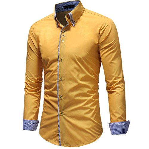 OWMEOT Mens 100% Cotton Casual Slim Fit Long Sleeve Button Down Printed Dress Shirts (Yellow, XL) by OWMEOT
