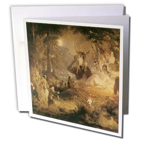 3dRose A Midsummer Nights Dream John Lamb 1834 Fairy Painting - Greeting Cards, 6 x 6 inches, set of 12 (gc_126218_2)