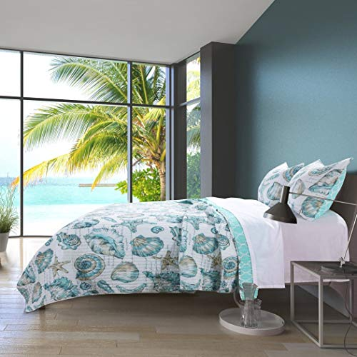 3 Piece White Teal Beach Theme Quilt Full Queen Set