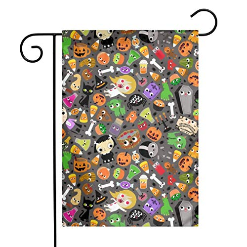 fudin Halloween Mash-up_934 Garden Flag 12 X 18 Inches, Custom Double-Sided Yard Flag, Polyester House Banner for Indoor Outdoor Home Decor]()