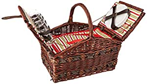 Cilio 155105 Canasta para picnic, servicio 4 personas, color Café