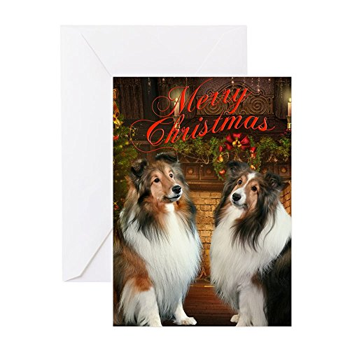 (CafePress - Merry Christmas Shelties Cards (Pk Of 20) - Greeting Card (20-pack), Note Card with Blank Inside, Birthday Card Matte)