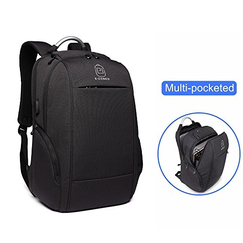 E-ZONED Business Laptop Backpack, Travel Knapsack, Computer Backpack with Headphone Port, Travel Backpacks with USB Charging Hole, Fits up to 15.6 - 17 inch Laptop (black)