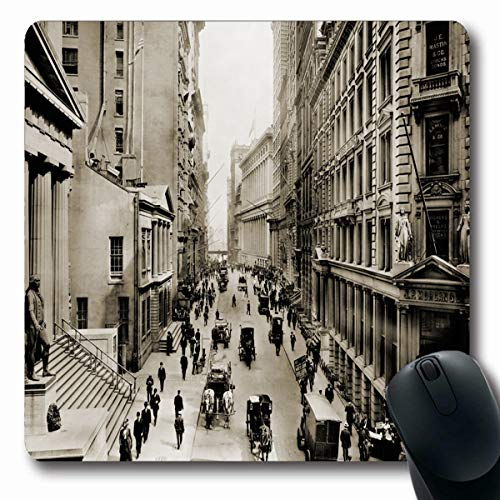 Tobesonne Mousepads History New York Citys Wall Street Looking 39 East from District Intersection Broad in Foreground Oblong Shape 7.9 x 9.5 Inches Non-Slip Gaming Mouse Pad Rubber Oblong Mat (Different Types Of Trading In Stock Market)
