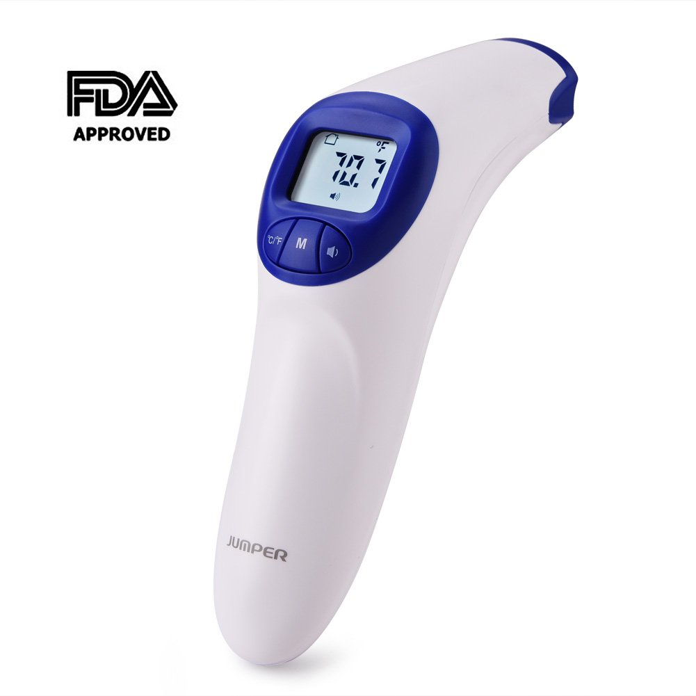 Infrared Forehead Thermometer, FDA Approved Digital Medical Thermometer with Fever Alarm for Baby Child Adult, Non-Contact/Touch, 20 Groups Body/Object Testing Memory(Blue)
