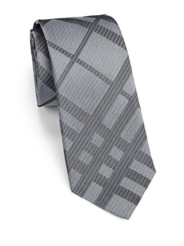 Burberry London Men's Clinton Silver Tonal Silk Plaid Neck Tie (Tie Bar Burberry)