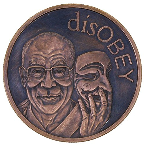 Jig Pro Shop disOBEY Dalai Lama (2017 Silver Shield Mini Mintage) 1 oz .999 Pure Copper Round/Challenge Coin w/Black Patina - Christmas Silver Round Coins