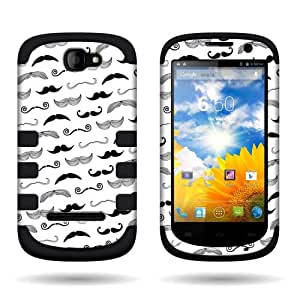 CoverON® for BLU Dash 4.5 D300 Hybrid Case - Slim Dual Layer Protective Hard Polycarbonate Flexible TPU Hybrid Phone Cover - Black mustaches