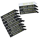12 Bachelorette Sashes for Bachelorette Party - 11 Bridesmaids Sashes and 1 Bride to Be Bachelorette Sash - Bride Tribe Gifts Games Favors Decorations Supplies - Black & Gold - White & Gold