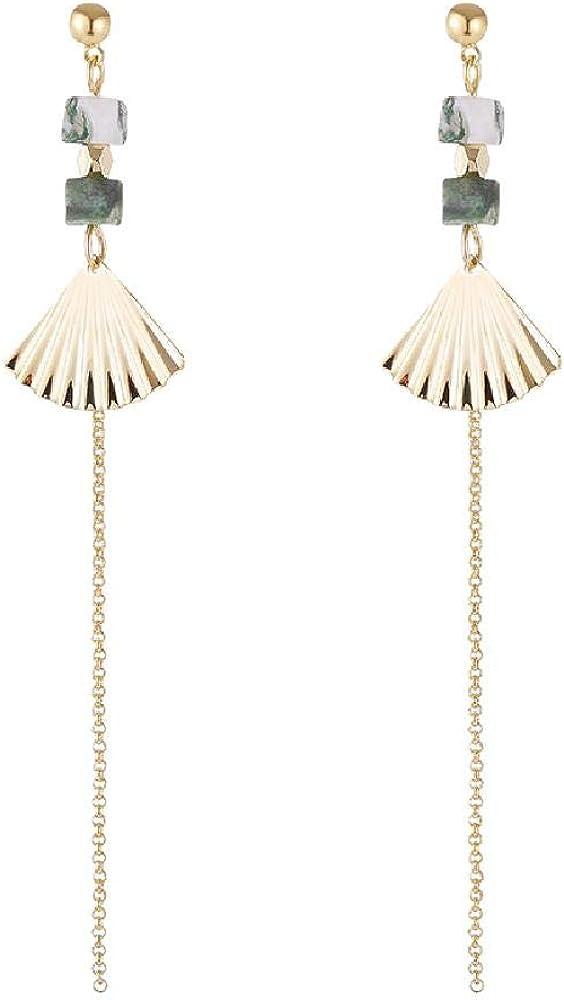 Pendientes, con forma de abanico, con flecos, patrón de árbol retro, pendientes largos de color turquesa, hembra 8.9 * 1.9cm