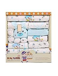 BELUPAID 15 Piece Baby Unisex Newborn Basic Essentials Gift Layette Set,Playwear Bundle Take Me Home Layette Gift Essentials Gift Set (Blue)