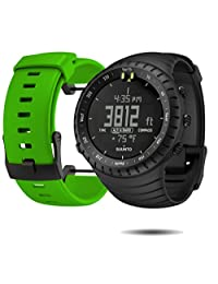 Suunto Core Wrist-Top Computer Watch with Spare Replacement Band Bundle (All Black with Green Rubber Replacement Band)
