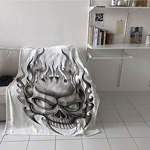 (Khaki home Children's Blanket Lightweight Digital Printing Blanket (60 by 80 Inch,Tattoo Decor,Skull Face Head Mask with Teeth Horror Theme in Sketch Style Evil Metal Punk)