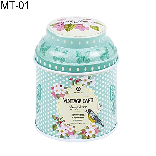(dezirZJjx Tea Container, Premium Tinplate Caddy Box Vintage Flowers Cylinder Round Tea Tins for Home Kitchen Storage Containers Colorful Tins- MT-01)