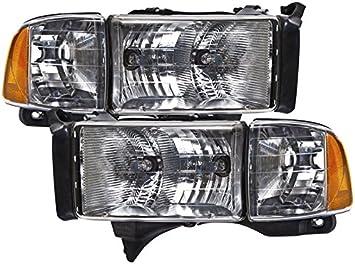 Corner Lights DWVO Fits for 94-01 Dodge Ram 1500//94-02 Dodge Ram 2500 3500 Headlight Assembly Black Housing