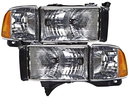 PERDE Chrome Housing Halogen Headlights With Performance Lens Compatible with Dodge Ram Sport 1500 2500 3500 Includes Left Driver and Right Passenger Side Headlamps
