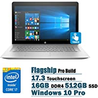 HP ENVY Flagship Premium 17.3 Full HD Touchscreen Backlit Keyboard Laptop PC, Intel i7-7500U Dual-Core, NVIDIA GeForce 940MX, 16GB DDR4, 512GB SSD, DVDRW, Bluetooth4.2, Windows 10 Pro