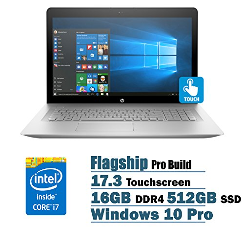 "Price comparison product image HP ENVY Flagship Premium 17.3"" Full HD Touchscreen Backlit Keyboard Laptop PC, Intel i7-7500U Dual-Core, NVIDIA GeForce 940MX, 16GB DDR4, 512GB SSD, DVDRW, Bluetooth4.2, Windows 10 Pro"