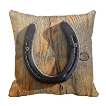 Cute Western Rustic Good Luck Horse Horseshoe Home Throw Pillow Case Pillow Case Covers Decorative Cover For Sofa 18X18 Inches